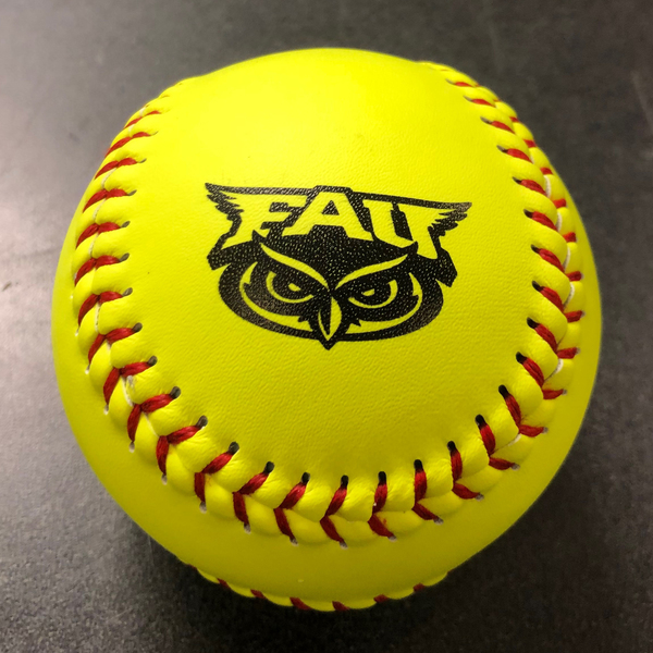Photo of Softball with Florida Atlantic Logo