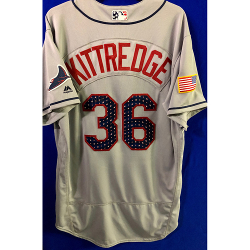 Photo of Stars and Stripes Game Used Autographed Jersey: Andrew Kittredge - July 4, 2018 at MIA