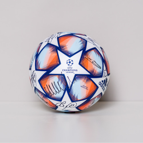 Photo of 20/21 Champions League Ball signed by the Manchester City FC Team