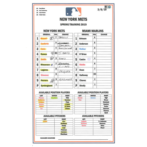 Photo of Team Issued Lineup Card - Syndergaard, Tebow, Smith, McNeil and Conforto Play - Mets vs. Marlins - 3/8/19