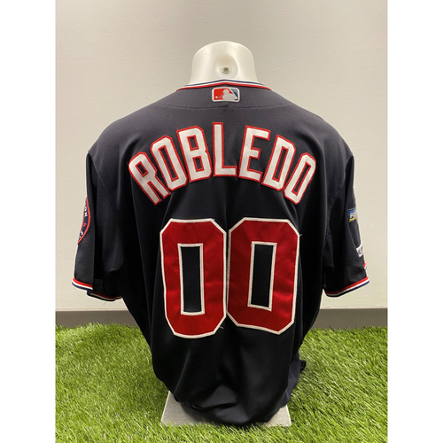 Photo of Team-Issued Nilson Robledo 2019 Navy Script Jersey with Postseason Patch