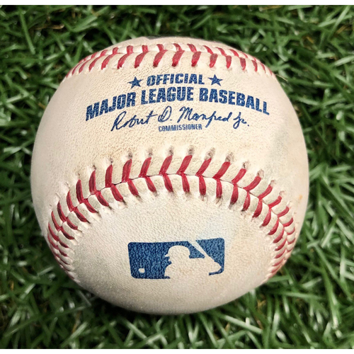 Photo of Game Used Baseball: George Springer ground out, Jose Altuve single and Alex Bregman line out off Chaz Roe - March 30, 2019 v HOU