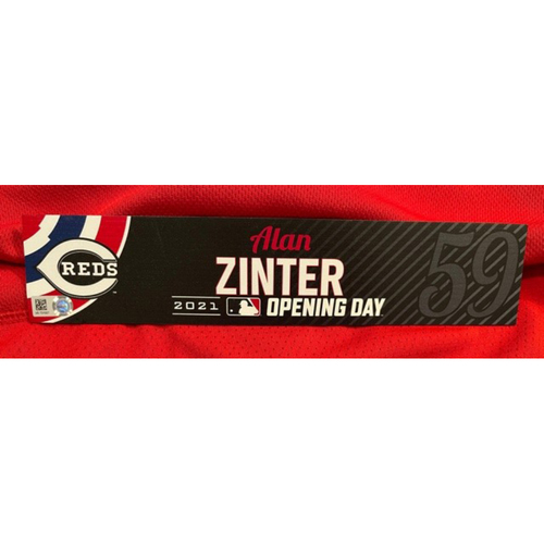 Photo of Alan Zinter -- 2021 Opening Day Locker Tag -- Game-Used -- Cardinals vs. Reds on 4/1/21