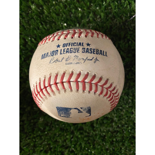 Photo of Ozzie Albies Game Used Hit Double Baseball - April 29, 2021 off Adbert Alzolay