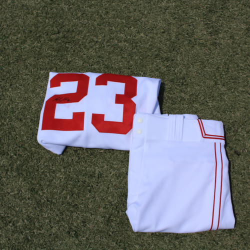 Photo of Game-Used & Autographed Monarchs Jersey & Game-Used Pants: Mike Minor #23 (DET @ KC 5/23/21) - Size 46