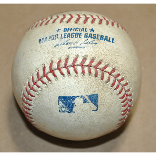 Photo of Game-Used Baseball - 2011 NLDS Game 4 - Philadelphia Phillies vs. St. Louis Cardinals - Batter: Chase Utley, Pitcher: Edwin Jackson, Fielders Choice to 1B, Top 3