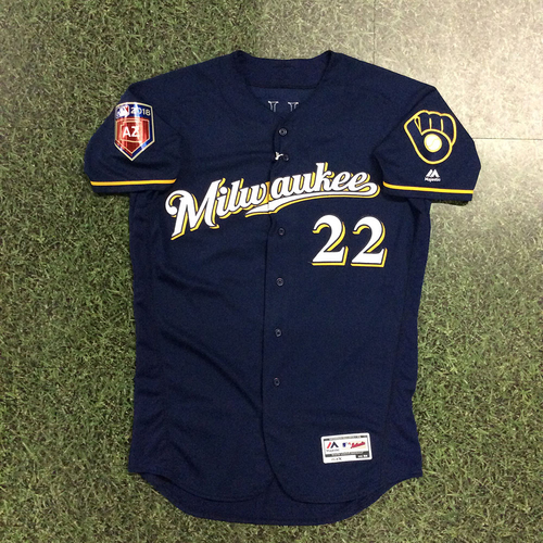 Photo of Christian Yelich 2018 Team-Issued Spring Training Jersey