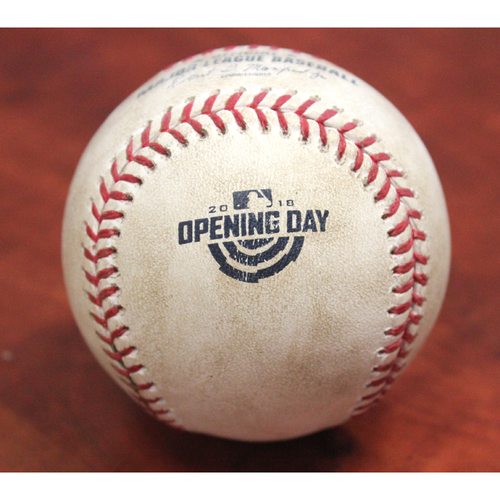 Photo of Opening Day Game-Used Baseball - Yusmeiro Petit / (LAA) Mike Trout Pitch in Dirt (Shohei Ohtani MLB Debut) - LAA at OAK 3/29/18