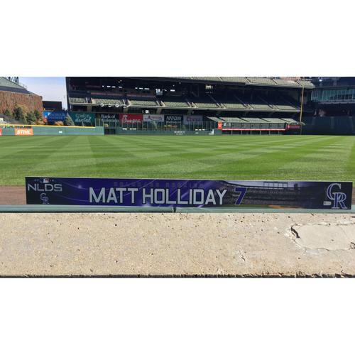 Photo of Colorado Rockies Game-Used Locker Tag - Matt Holliday NLDS Locker Tag - October 7, 2018