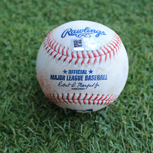Photo of Game-Used Baseball: Daniel Norris Pitched Strikeout to Jorge Soler (DET @ KC - 6/12/19)