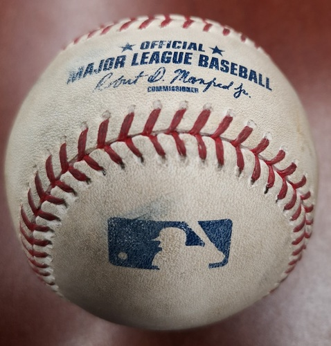 Photo of Authenticated Game Used Canada Day Baseball - Pitch in the Dirt from Mark Buehrle to Hanley Ramirez (July 1, 2015 vs BOS). Top 7.