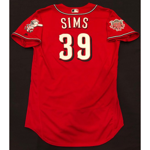 "Photo of Lucas Sims -- Game-Used ""Los Rojos"" Jersey (Relief Pitcher: 1.1 IP, 3 K) -- D-backs vs. Reds on 9/6/19 -- Jersey Size 46"
