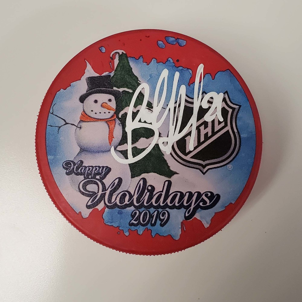 Brett Howden New York Rangers Autographed Inglasco 2019 Happy Holidays Hockey Puck - NHL Auctions Exclusive