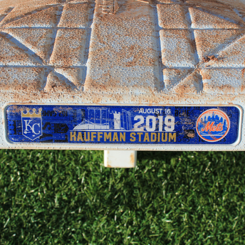 Photo of Game-Used 2nd Base: Hunter Dozier 42nd Career Double (Innings 6-9 - KC vs NYM - 8/16/2019)