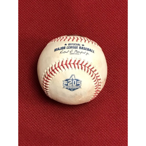 2018 Season Game-Used Baseball, Los Angeles Dodgers at Arizona Diamondbacks 9/25/18: Walker Buehler vs. Jon Jay (Ball in Dirt. Baseball Features Arizona Diamondbacks 20th Anniversary Logo.)