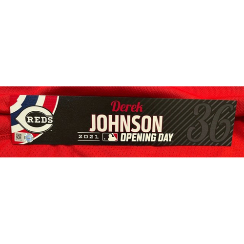 Photo of Derek Johnson -- 2021 Opening Day Locker Tag -- Game-Used -- Cardinals vs. Reds on 4/1/21