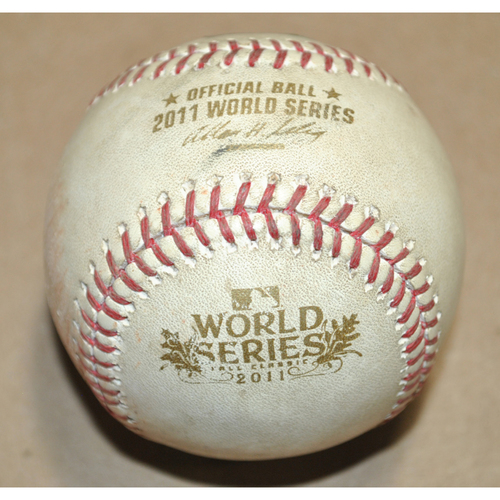 Photo of Game-Used Baseball - 2011 World Series Game 6 - Texas Rangers vs. St. Louis Cardinals - Batter: David Murphy, Pitcher: Lance Lynn, Ball in Dirt, Top 7