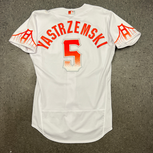 Photo of 2021 Game Used City Connect Jersey worn by #5 Mike Yastrzemski on 8/10 vs. ARI - 2-4, 2 RBI, R, 2B & 9/14 vs. SD - 0-0, BB - Size 42