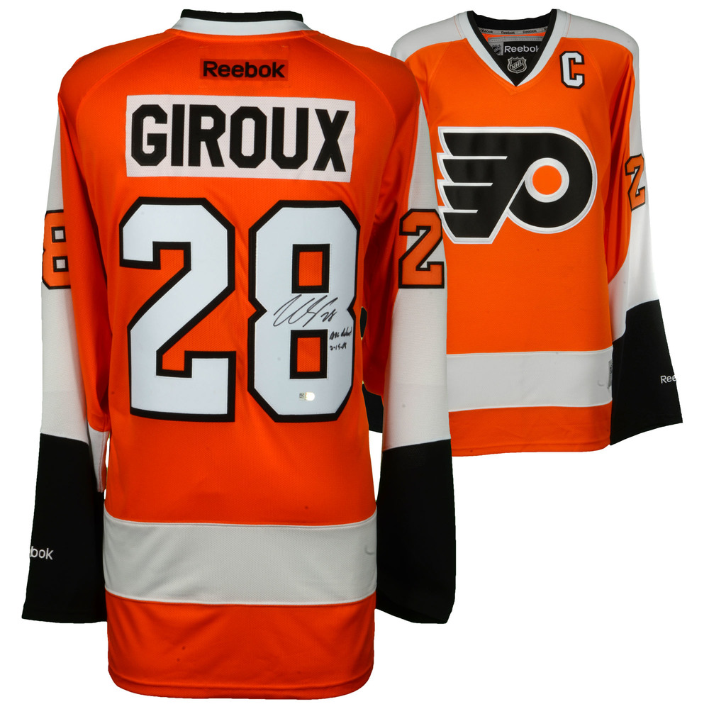 Claude Giroux Philadelphia Flyers Autographed Orange Reebok Premier Jersey with NHL Debut 2/19/08 Inscription