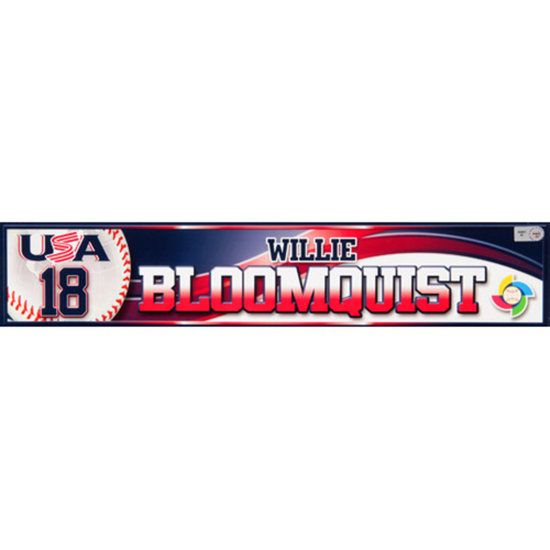 2013 WBC: USA Game-Used Locker Name Plate - #18 Willie Bloomquist
