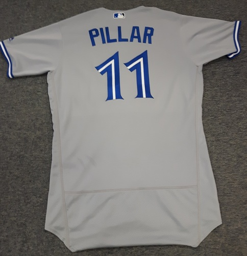 Photo of Authenticated Game Used Jersey - #11 Kevin Pillar. July 31, 2017: 1-for-3 with 1 Run and 1 Walk. August 23, 2017: 1-for-4 with 1 HR (Go-Ahead), 1 Run and 1 RBI. Size 44.