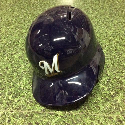 "Photo of Chase Anderson 2016 Navy ""M"" Logo Batting Helmet"