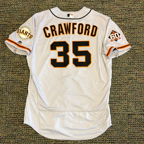 Photo of San Francisco Giants - 2018 Opening Day Game-Used Road Jersey - Worn by #35 Brandon Crawford on 3/29/2018 vs. the Los Angeles Dodgers - Jersey Size 48
