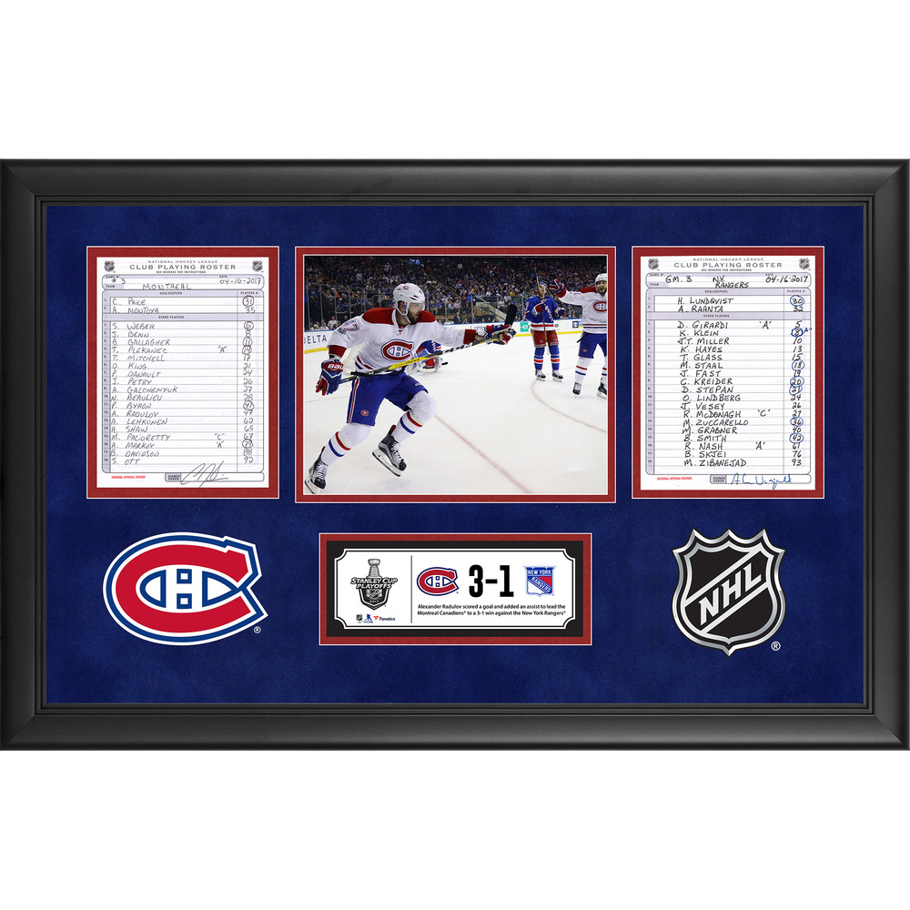Montreal Canadiens Framed Game-Used Playoffs Game 3 Line-Up Cards, April 16, 2017 vs. New York Rangers - Alexander Radulov's Two-Point Game