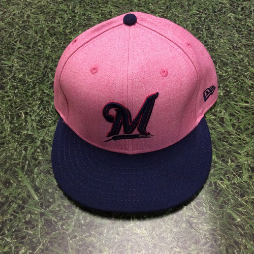 c134254a5ad Photo of Brent Suter 2018 Game-Used Mother s Day Cap