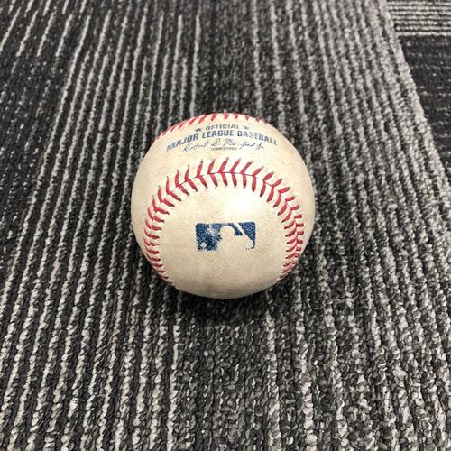 Photo of 2017 Game Used Baseball - 6/28 vs. Colorado Rockies - B-8: Jordan Lyles to Jae-Gyun Hwang - Passed Ball (Brandon Belt Advances to 3rd) - Jae-Gyun Hwang MLB Debut