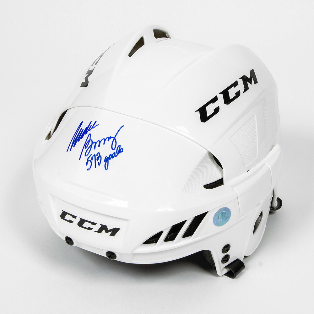 Mike Bossy Signed CCM Hockey Helmet with 573 Goals Note - New York Islanders