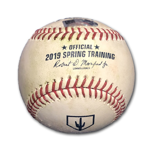 Photo of Game-Used Baseball -- Pedro Strop to Mookie Betts, Strikeout, Top 6 -- Spring Training 2019, 3/25/2019 vs. Red Sox