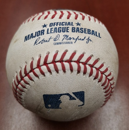 Photo of Authenticated Game Used Baseball - Single by Vladimir Guerrero Jr. against Rick Porcello. Career Hit #20 (May 22, 19 vs BOS). Bottom 6. Guerrero Jr. hit 1st Career HR at Home (5th Career HR) in the Game.