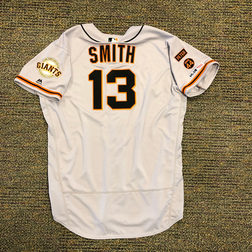 Photo of 2019 Game Used Jersey worn by First Time 2019 All Star #13 Will Smith on 3/28 @ San Diego Padres - Size 52
