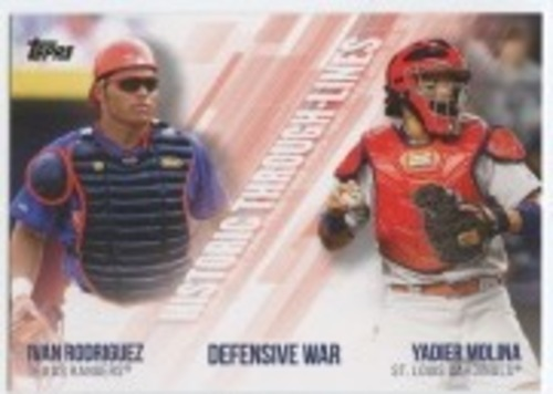 Photo of 2019 Topps Historic Through Lines #HTL29 Ivan Rodriguez/Yadier Molina