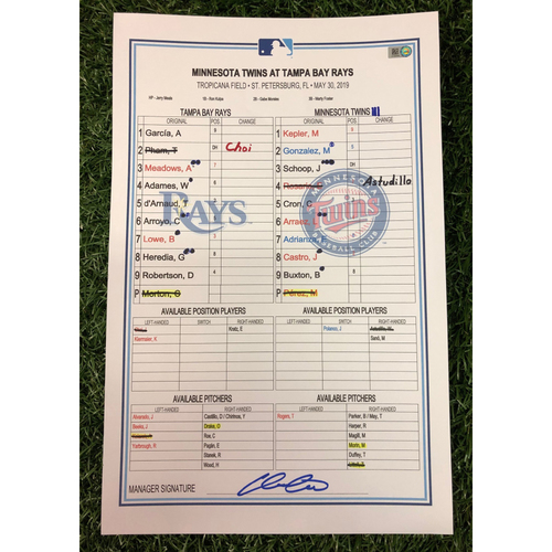 Photo of Game Used Lineup Card: Charlie Morton (W, 7.0 IP, 6 SO) - 6th Win of Season - May 30, 2019 v MIN
