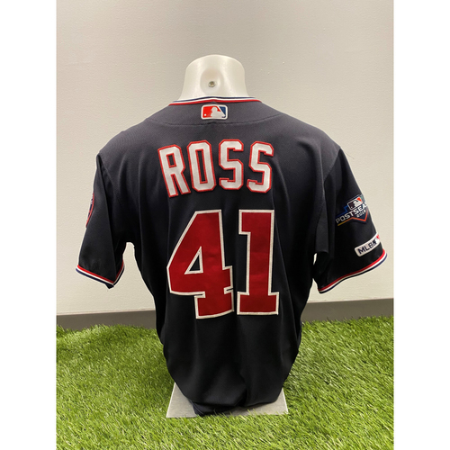 Photo of Team-Issued Joe Ross 2019 Navy Script Jersey with Postseason Patch