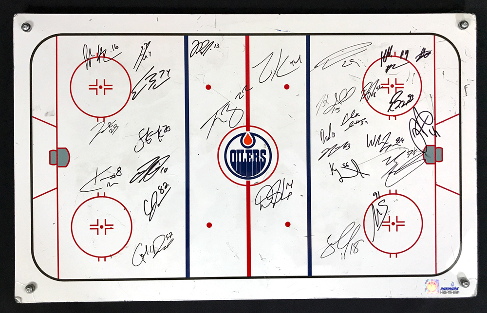 2020-21 Edmonton Oilers Team-Signed Oilers Coaching Staff Used White Board