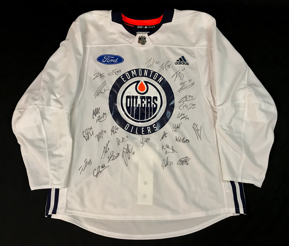 2020-21 Edmonton Oilers Team-Signed White Adidas Official Team Issued Practice Jersey