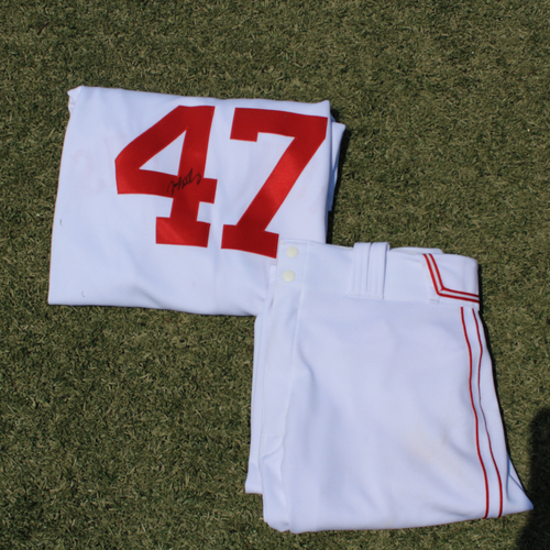 Photo of Game-Used & Autographed Monarchs Jersey & Game-Used Pants: John Mabry #47 (DET @ KC 5/23/21)  - Size 50