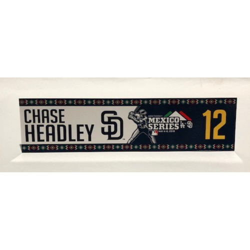 Photo of 2018 Mexico Series - Chase Headley Game-Used Locker Tag