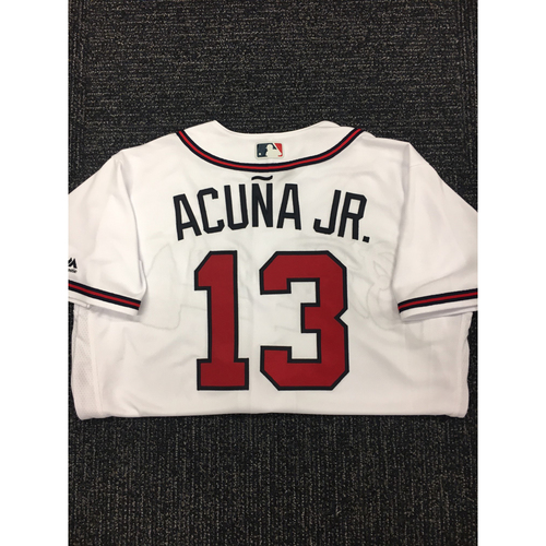 Photo of Ronald Acuna Jr. Autographed, Game Used Los Bravos Jersey