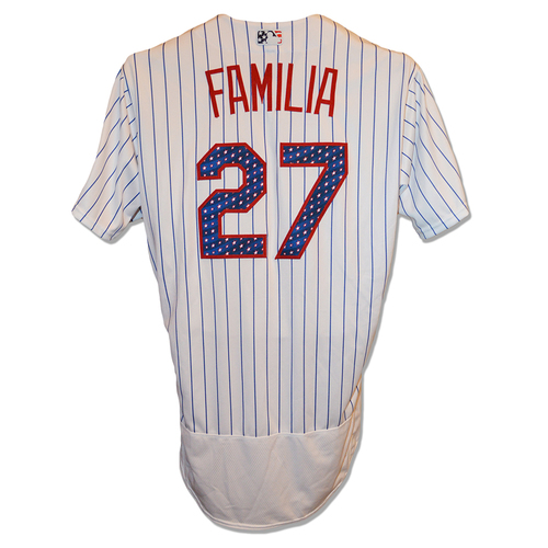 Photo of Jeurys Familia #27 - Team Issued White Pinstripe July 4th Jersey - 2017 Season