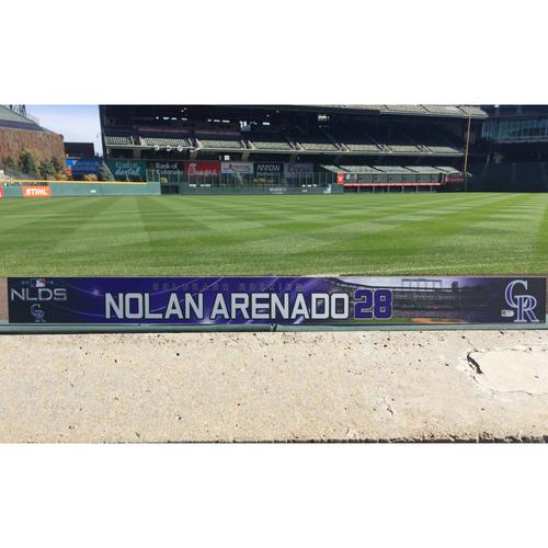 Photo of Colorado Rockies Game-Used Locker Tag - Nolan Arenado NLDS Locker Tag - October 7, 2018
