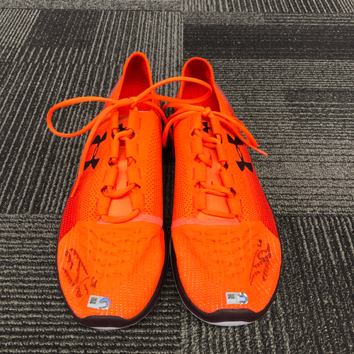 Photo of 2018 Holiday Deal! - Autographed Player Collected Orange Shoes (PAIR) - #61 Josh Osich - Size 14