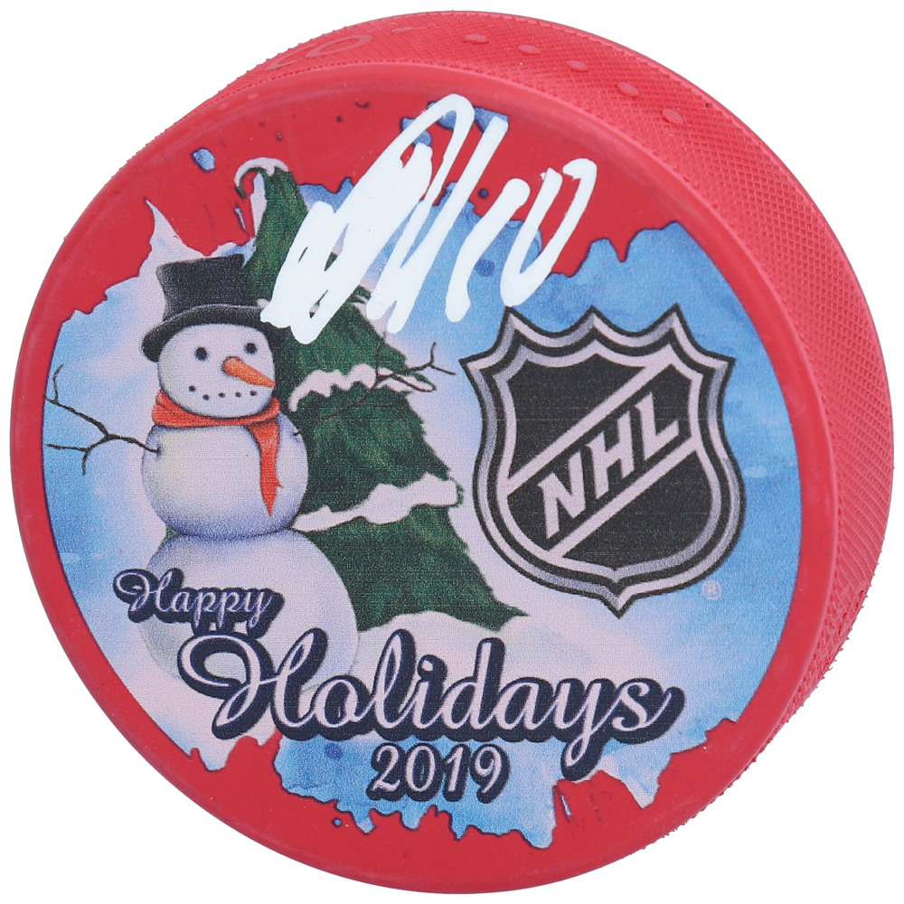 Artemi Panarin New York Rangers Autographed Inglasco 2019 Happy Holidays Hockey Puck - NHL Auctions Exclusive