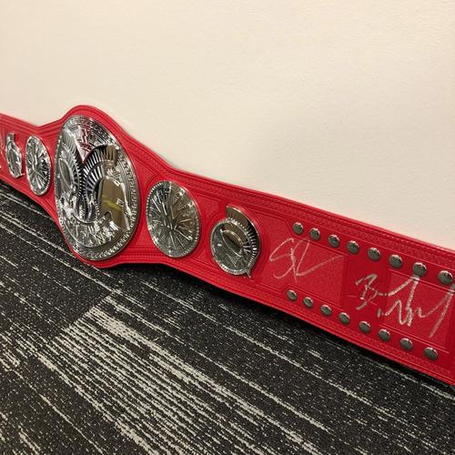Photo of Seth Rollins, Akam, Rezar, & Murphy SIGNED WWE RAW Tag Team Championship Replica Title Belt