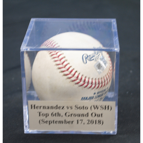 Photo of Game-Used Baseball: Elieser Hernandez vs Juan Soto (WSH), Top 6th, Ground Out (September 17, 2018)