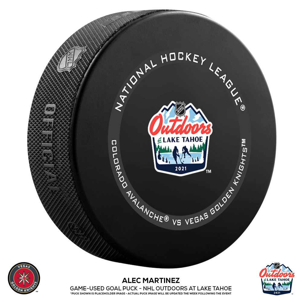 Alec Martinez Vegas Golden Knights Game-Used Goal Puck from the NHL Outdoors at Lake Tahoe on February 20, 2021 vs. Colorado Avalanche