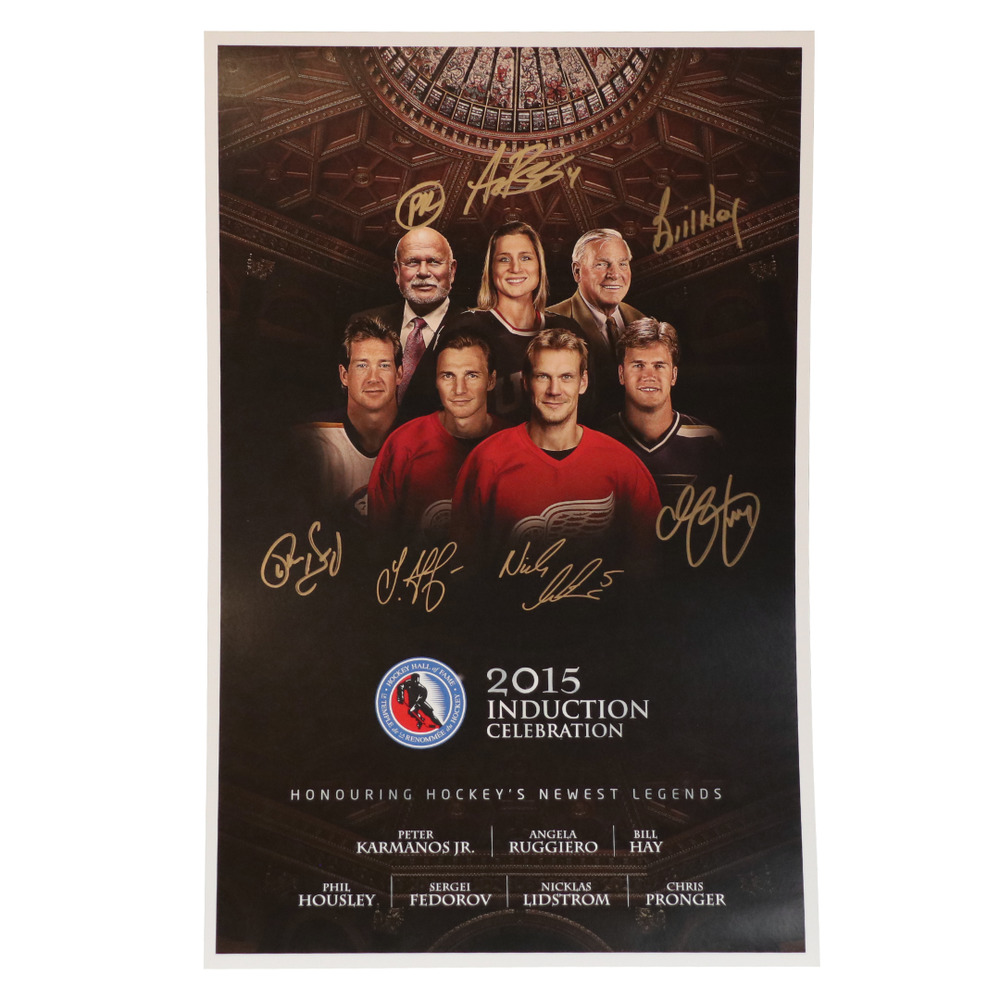Fedorov, Lidstrom, Pronger, Housley, Ruggiero, Karmanos, Hay - Class of 2015 Induction Signed Poster - Limited Edition
